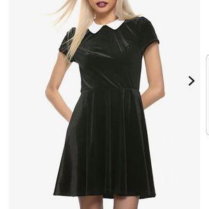 Black velvet collar skater dress